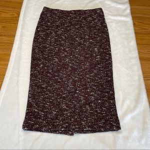 Ann Taylor Brown Knit Mid Pencil Skirt Size 2